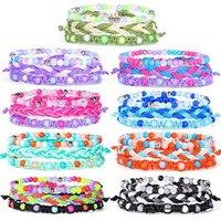Boho VSCO chica de bolas de cuerda pulseras Conjunto Amistad Cuerda colorida del tejido con cuentas de cuerda pulsera brazalete 3pcs / Set de playa verano regalo de la joyería