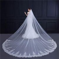 3,5 * 3m longos véus de casamento branco marfim tule borda de laço véu de casamento igreja jardim árabe véus de casamento acessórios de casamento