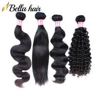 Cabelo brasileiro tece pacotes de cabelos humanos encaracolado tece onda de corpo reto solto profundo 3 pcs Virgin Hair Extensions Double Weft Bellahair