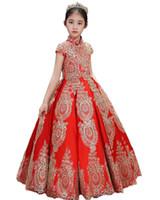 Dostosowane Pretty Red Satin Aplikacje Koraliki Little Girls Pageant Dresses 2020 Złote Koronki Kwiat Girl Sukienki Długie Dzieci Princess Party Suknia