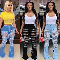 Kadınlar Tasarımcı Flared Jeans Ripped Delik Denim Bootcut Pantolon 3265 Seksi Katı Renk Yaz Giyim DHL Bell Bottoms Pantolon Yıkanmış