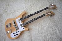 Custom Custom doppio collo in legno naturale colore basso elettrico e chitarra con 4 + 12 corde, pickguard bianco, di alta qualità, può essere personalizzato