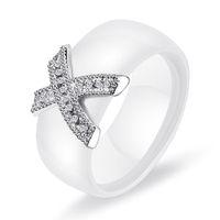Kristall Fabala X Kreuz Hochzeitspaar Ringe Keramik Größe 8-12 Engagement