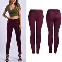 Lady Motosiklet Elastik Kot Kadın Beyaz / Kırmızı / Siyah Ince Bacak Kalem Kot Pantolon Kadın Streç Kovboy Pantolon