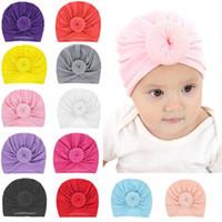 15 개 가지 색상의 아이 겨울 모자 아기 라운드 볼 면화 비니 아기 디자이너 고급 버킷 모자 여자 어린이 모자 헤어 액세서리 모자