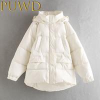 Mulheres para baixo Parkas Puwd 2021 Inverno Engrossado bolso solto com jaqueta de algodão com capuz puro casaco branco puro