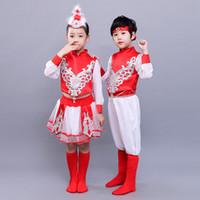 Xinjiang étnica de la minoría Ropa niños de Mongolia dancewear de la etapa del vestido del funcionamiento de la danza ropa de color rojo boygirl