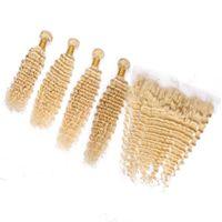 깊은 웨이브 블리치 금발 인도 버진 인간의 머리카락 4 개 묶음 거래와 정면 # 613 금발 13x4 레이스 정면 폐쇄와 직물 5 개 세트