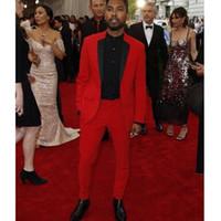 أحمر المساء حزب الرجال الدعاوى لحفل زفاف البدلات الرسمية الأسود حقق التلبيب اثنان قطعة مخصص العريس الزفاف البدلات الرسمية 2019 (سترة + سروال)