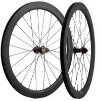 الطريق الفرامل 700C الكربون العجلات 50MM العمق العرض 25mm UD ماتي الفاصلة القرص ركوب الدراجات دراجة عجلات المحور الظهور / QR أسياخ