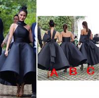 Yeni Tasarım Balo Siyah Nedime Elbiseleri 2021 Backless Yay Düğüm Hizmetçi Onur Düğün Konuk Elbise Özel Yapılan Balo Akşam Parti Abiye