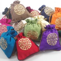 4 dimensioni Cotone Lino Eco ricamato Craft Gift Bag Candy Chocolate stile Cina coulisse Packaging Pouch festa nuziale di compleanno di Natale