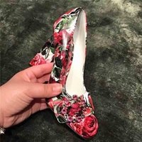 Primavera Mujeres Bombas Impresión 3D Rose Chic Mary Janes Zapatos Mujer Dedo Cuadrado Crystal Circle Lady Shoes Slip On Wedding Shoes Women