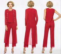 2020 Elegante rote lange Mutter der Braut-Kleider Hosen-Anzug Mantel mit langen Ärmeln Juwel Individuelle Hochzeit Mutter der Braut Kleid