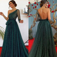 Charming Hunter Green Prom Dresses One Shoulder Long Sleeve ...