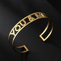 Youme SONRISA letras AMORE manguito pulseras para el diseñador de las mujeres de lujo en el corazón de letras puños pulseras de plata brazaletes de oro regalo de amor de pareja