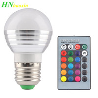 Haoxin Smart Home Led Lamp Lâmpadas E27 E14 RGB Led bulbo de lâmpada montion Sensor E27 E14 85-265V 3 / 5W Com 24Key Remote Control