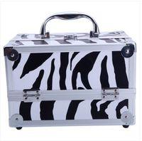 """I saldi!!! Commerci all'ingrosso Spedizione gratuita SM-2176 Alluminio Trucco Train Case Jewelry Box Cosmetic Organizer con specchio 9 """"x6"""" x6 """""""