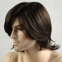 kurze Männer Synthetische Perücken Natürliche Schwarze Farbe Natürliche Welliges Haar Kurze Männer Perücken Glattes Haar schwarz Herren Perücke Synthetische Hitzebeständig Capless
