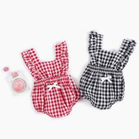 New Baby Romper Toddler Kids Plaid Cotton Onesies with Bow S...