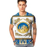 Gli uomini d'oro della stampa del leopardo delle magliette Retro nobile Cartoon casuale sottile manica corta partito del randello della marca di alta qualità Streetwear T delle parti superiori di formato M-3X