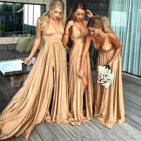 2019 Sexy profundo Oro largo vestido de dama barato cuello en V Imperio de Split huésped de la boda del tren del barrido Dama de honor Vestidos de fiesta
