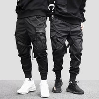 Januarysnow Hip Hop Boy Multi-карман эластичный пояс дизайн Гаремные Мужчины Streetwear Панк Повседневный Брюки Jogger Мужской Танцующий черные брюки