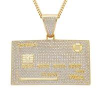 18k banhado a ouro visa diamante cartão de crédito sólido colar de pingente de volta com corrente de link cubano mens hiphop bling jóias presente