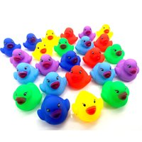 Hot Baby Bath Water Duck Toy Sounds Mini Yellow Colorful Rub...