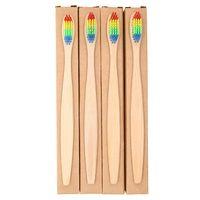 1 unid cepillo de dientes de mango de bambú natural arco iris colorido cerdas suaves cepillo de dientes de bambú cepillo de dientes cuidado bucal ecológico