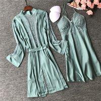2020 Women Silk Robe Gown Sets Sexy Lace Sleep Lounge Pijamas Ladies Summer Nightwear Bathrobe Night Dress Femme Robe