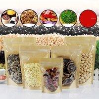 Kraft Papier Zipper-Verschluss Lebensmittel-Verpackungsbeutel Wiederverwendbare Kunststoff-Front Transparent Stand bis Beutel-Geschenk-Süßigkeit Backen Snack-Beutel