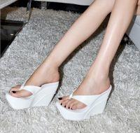 US4-11 Womens Open Toe Wedge Super High Heel Platform Pantofole Sandali infradito Scarpe più estate Nero Bianco Rosa B105