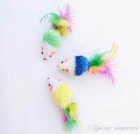 الريشة الملونة الحصباء ماوس صغير لعبة القط على القط الريشة مضحك لعب الحيوانات الأليفة الكلب الحيوانات القط الصغيرة ريشة لعب هريرة