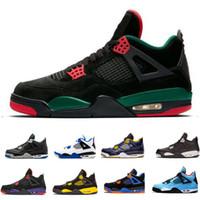 best sneakers c06ae e2aab 2019 nuevo barato Top 4 hombres zapatillas de baloncesto zapatillas de  deporte Negro verde Cemento Puro