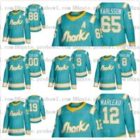 Personnalisé San Jose Sharks 2020 Throwback sarcelle chandail de hockey Brent Burns, Erik Karlsson Evander Kane Joe Thornton Pavelski Tomas Hertl 12 Marleau