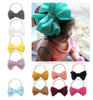 New Baby infant kids nylon Hair Rope with big bow tie Headwr...