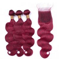 Silanda Hair Bourgogne Colorie Vague Corps Remy Cheveux humains Teins 3 Tissage Bundles avec une fermeture de dentelle 4x4 Livraison gratuite