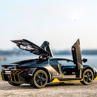 Kidami 1시 32 분 Aventador 770-4 합금 다이 캐스트 가벼운 음악 선물 완구와 자동차 장난감을 당겨 높은 어린이를위한 시뮬레이션 Miniauto J190525
