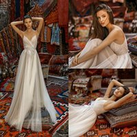 2020 nuevo una línea espaguetis pluma apliques de tul barrido Tamaño de tren vestidos de novia Plus Robe de mariée Liz Martinez vestidos de boda de cuento