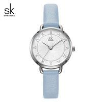Shengke Creative Glitter Dial femmes en cuir montre-bracelet Mouvement Quartz Montres Slim Bracelet Boucle Reloj Mujer Femme # K9001 Montrésor