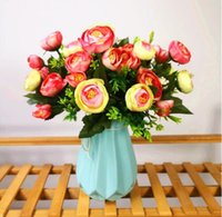 Silk flower 6 fork 9 heads Spring tea rose flowers Bouquet A...