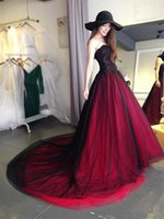 Gothic Black and Red Wedding Dress Vintage 2019 New Straples...