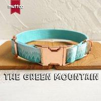 MUTTCO détail col style frais le collier de chien d'impression GREEN MOUNTAIN 5 tailles UDC015M