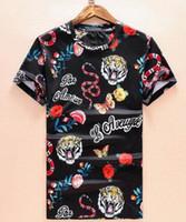 الصيف الرجال عادية تي شيرت الأفعى النمر فراشة زهرة مطبوعة القطن قصير الأكمام O-الرقبة الرياضة T تيز قميص قمم M-XXXL أسود أبيض