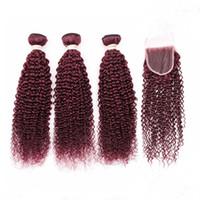 곱슬 곱슬 곱슬 버진 버진 브라질 인간의 머리카락 붉은 직조 묶음 3pcs 클로저 4pcs와 부르고뉴 레이스 프론트 클로저 4x4 짜다와 함께