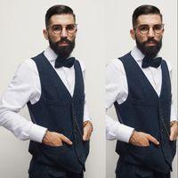 Vente chaude Bleu Gilets Gilets 2019 Hommes Formels Gilet De Mode Casual Slim Fit Spliced Dîner Chaînes De Mariage Gilet