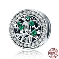 China Vendita Fascino Genuine 925 Sterling Silver Silver Tree of Life Beres Green CZ Charm Fit Bracelet Bracciale regalo gioielli fai da te