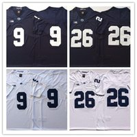 Mens NCAA Penn State Nittany Lions # 26 Saquon Barkley 9 Trace McSorley Sin nombre Navy White College Football Limited Jerseys