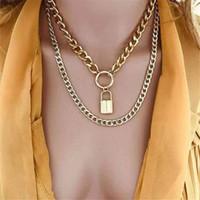 DIEZI Çok Katmanlı Vintage Çember Kilit kolye kolye Punk Moda Altın Rengi Metal Zinciri gerdanlık kolye için Kadınlar Takı